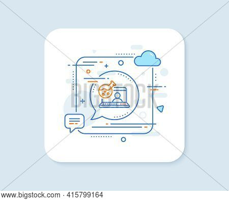 Online Chemistry Lab Line Icon. Abstract Square Vector Button. Laboratory Flask Sign. Analysis Symbo