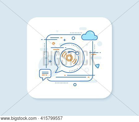 Vinyl Record Line Icon. Abstract Square Vector Button. Music Sound Sign. Musical Device Symbol. Viny