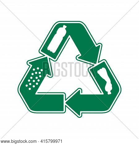 Recycle Waste Biomaterials And Biodegradable Icon - Plastic Bottle Turns To Granules - Eco Friendly