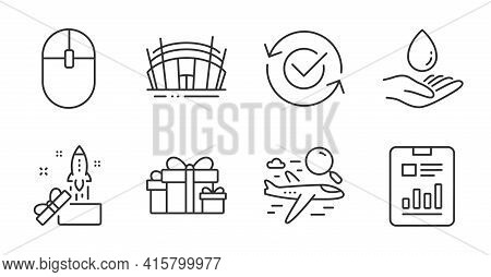 Search Flight, Water Care And Arena Stadium Line Icons Set. Innovation, Report Document And Holiday