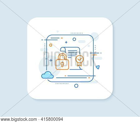 Security Contract Line Icon. Abstract Square Vector Button. Cyber Defence Lock Sign. Private Protect