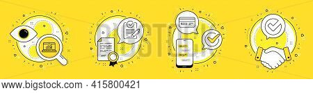 Online Statistics, Credit Card And Rfp Line Icons Set. Licence, Cell Phone And Deal Vector Icons. Ve