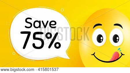 Save 75 Percent Off. Easter Egg With Yummy Smile Face. Sale Discount Offer Price Sign. Special Offer