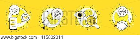 Continuing Education, Opinion And Cloud Sync Line Icons Set. Cell Phone, Megaphone And Deal Vector I