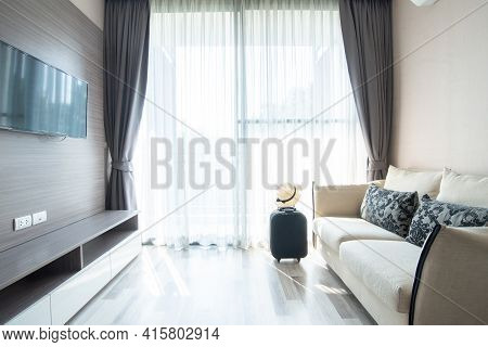 Modern Living Room Interior Design In Cozy Hotel. Living Room Is A Room In A Residential House Or Ap