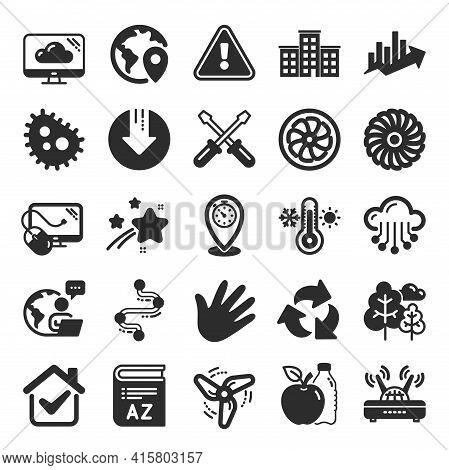 Company Building, Vocabulary, Profits Timeline Icons. Turbine, Wind, Thermostat Icons. Tree, Bacteri