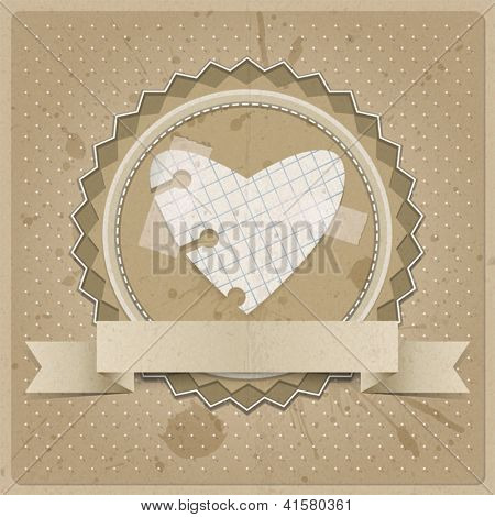 Valentine's background or card with paper heart