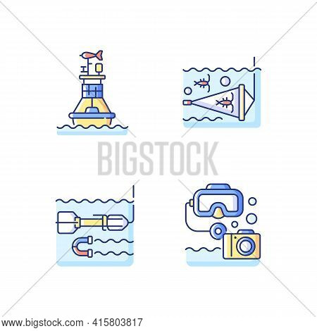 Marine Exploration Rgb Color Icons Set. Weather Buoy Systems. Plankton Net Equipment. Marine Magneto