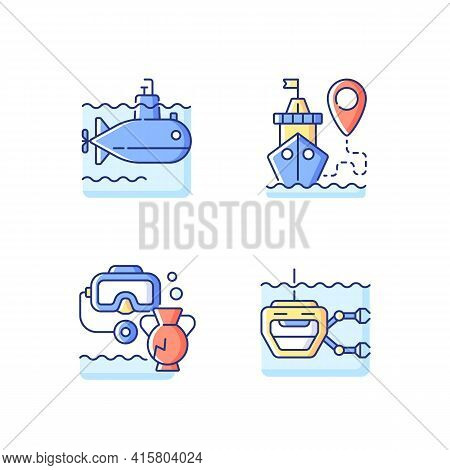 Marine Exploration Rgb Color Icons Set. Underwater Archaeology Tools. Ship Tracking Systems. Remotel