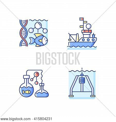 Marine Exploration Rgb Color Icons Set. Marine Chemistry Tools And Equipment For Discovering Underwa