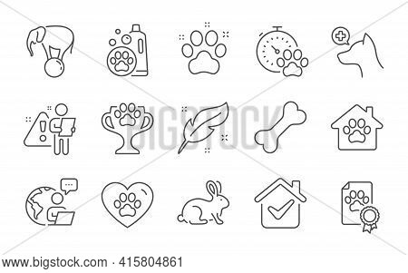 Dog Competition, Dog Bone And Veterinary Clinic Line Icons Set. Pets Care, Pet Shampoo And Winner Cu