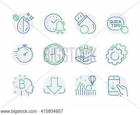 Technology Icons Set. Included Icon As Alarm Bell, Time, Download Signs. Timer, Flash Memory, Bitcoi