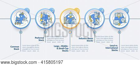 Assets Types Vector Infographic Template. Common, Preferred, Industry Stocks Presentation Design Ele