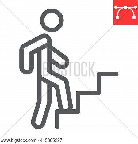 Career Path Line Icon, Leadership And Success, Person Climbing Career Path Vector Icon, Vector Graph
