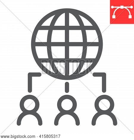 Outsourcing Line Icon, Global And Teamwork, Outsource Vector Icon, Vector Graphics, Editable Stroke