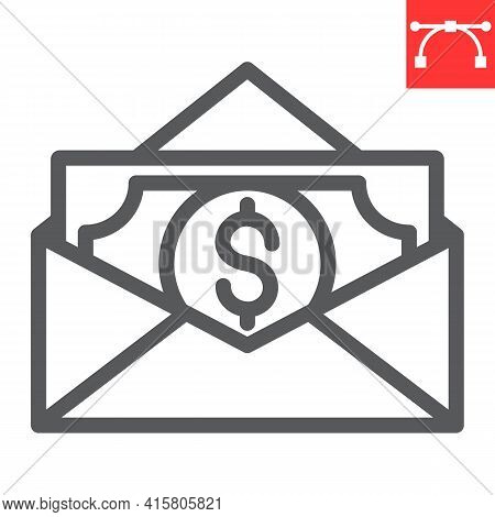 Salary Line Icon, Corruption And Earnings, Money In Envelope Vector Icon, Vector Graphics, Editable