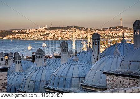 View Over Suleymaniye Bath On The Galata Tower Near The Suleymaniye Mosque Which Is An Ottoman Imper