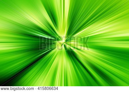 Abstract Radial Zoom Blur Surface Of Light Green And Dark Green Tones. Abstract Juicy Green Backgrou