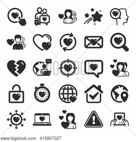 Love Icons. Couple, Romantic And Heart Signs. Valentines Day Love Symbols. Divorce Or Break Up. Flat