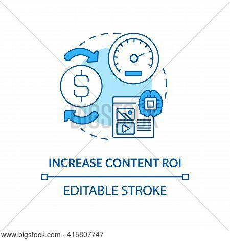 Increase Content Roi Blue Concept Icon. Marketing Strategy For Profit Growth. Online Business. Smart