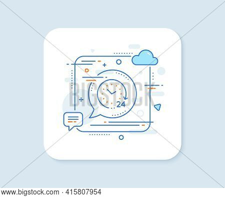 24 Hours Time Line Icon. Abstract Square Vector Button. Clock Sign. Watch Symbol. 24 Hours Line Icon