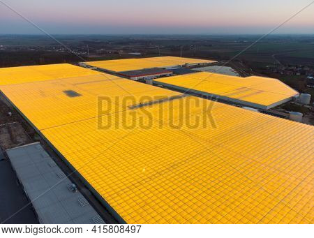 Aerial drone view of massive greenhouse for growing vegetables. Flying over large industrial greenhouses with transparent roof in evening.