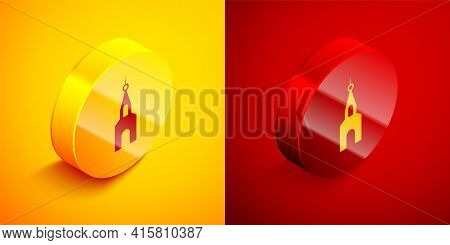 Isometric Church Building Icon Isolated On Orange And Red Background. Christian Church. Religion Of