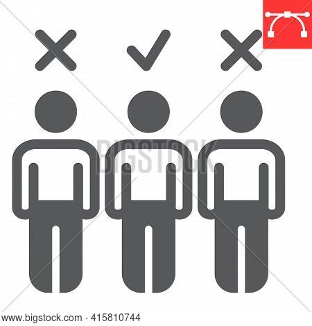 Candidate Glyph Icon, Job And Recruit, Choosing The Right Candidate Vector Icon, Vector Graphics, Ed