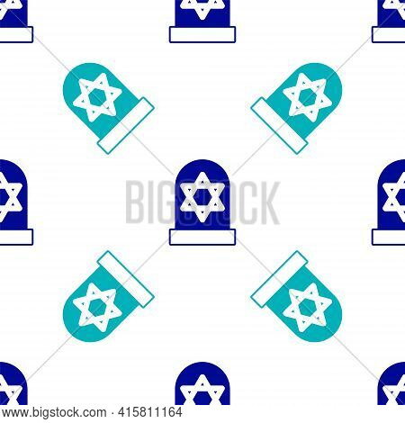 Blue Tombstone With Star Of David Icon Isolated Seamless Pattern On White Background. Jewish Grave S