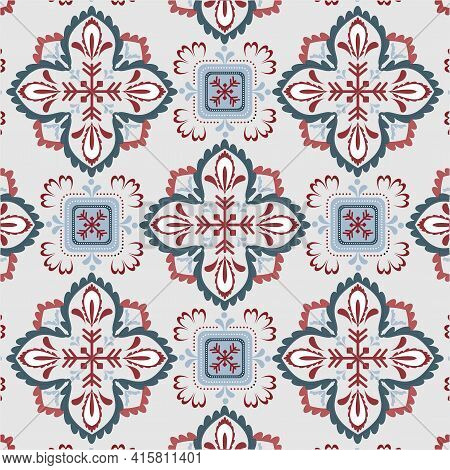 Ikat Geometric Folk Ornament. Tribal Ethnic Vector Texture. Seamless Striped Pattern In The Aztec St