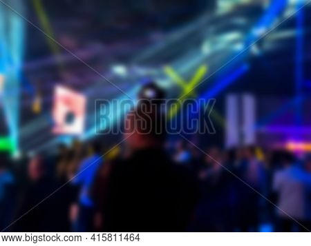 Silhouette Of The Photographer At A Dancing Party. Entertainment Program At The Wedding. ?eople Danc