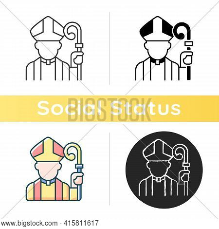 Clergy Icon. Male Catholic Priest. Vatican Pope. Religious Figure. Christian Church Pastor. Social C