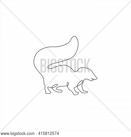 Minimalistic One Line Skunk Icon. Line Drawing Animals Tattoo. Skunk One Line Hand Drawing Continuou