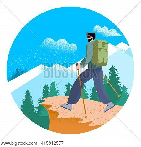 A Man With A Backpack In The Mountains. Climbing, Adventure, Mountain Tourism. Flat Vector Style, St