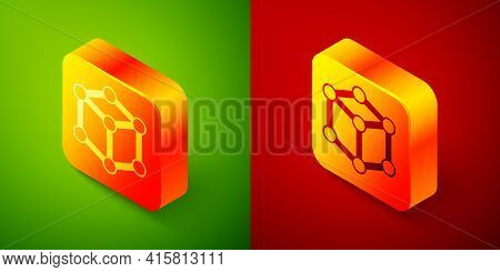Isometric Molecule Icon Isolated On Green And Red Background. Structure Of Molecules In Chemistry, S