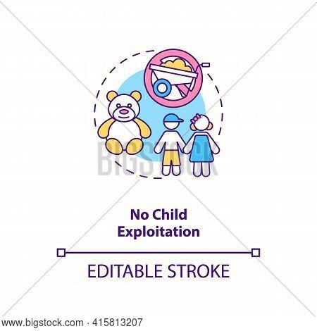 No Child Exploitation Concept Icon. Immigrant Children Abuse Prevention. Migrant Worker Rights Idea