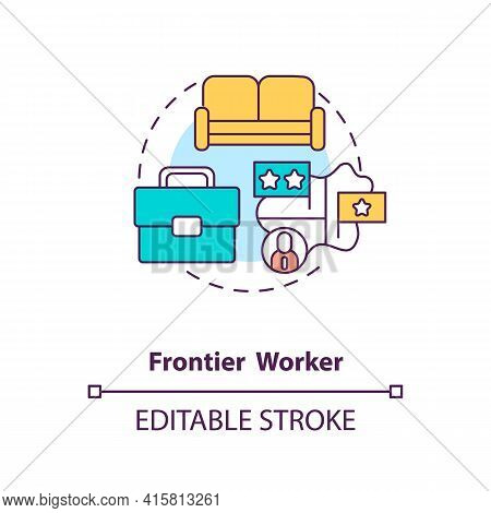 Frontier Worker Concept Icon. Cross Border Work. Job Abroad. Immigrant Employee Type. Migrant Worker