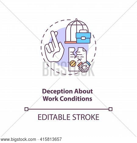 Deception About Work Conditions Concept Icon. Fraud Employer. Bad Working Conditions. Migrant Worker