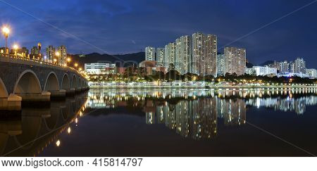 Skyline Of Residential District In Hong Kong City