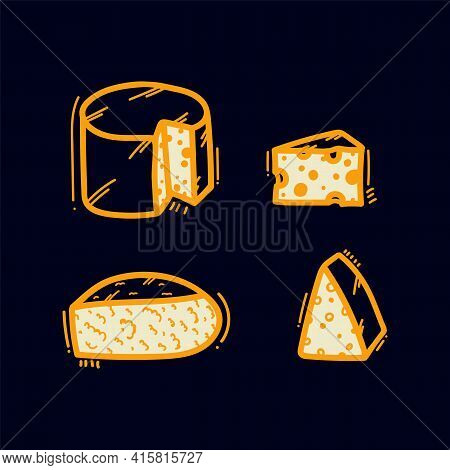 A Set Of Dairy Doodle Icons. Round And Sliced Cheeses, Maasdam, Curd Cheese, Cream Cheese. Vector Il