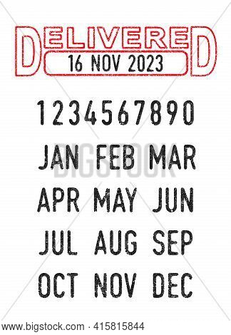 Vector Illustration Of The Delivered Stamp And Editable Dates (day, Month And Year) In Ink Stamps