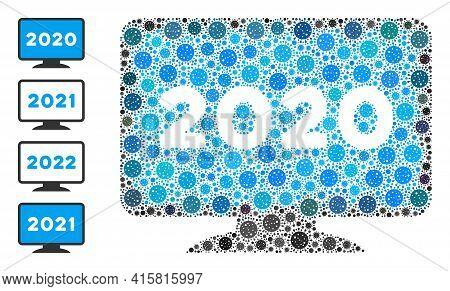 2020 Display Screen Coronavirus Mosaic Icon. 2020 Display Screen Collage Is Done Of Randomized Coron