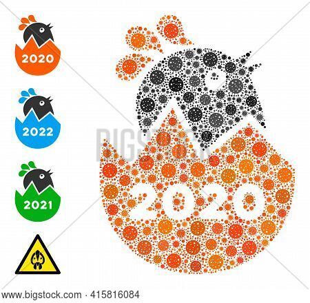 2020 Hatch Chick Bacteria Mosaic Icon. 2020 Hatch Chick Collage Is Composed With Random Bacteria Ico