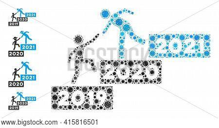2021 Buisiness Training Stairs Bacteria Mosaic Icon. 2021 Buisiness Training Stairs Collage Is Shape