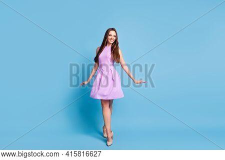 Full Length Photo Of Charming Lady Step Flirty Pose Look Camera Wear Purple Dress Stilettos Isolated