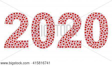 Vector 2020 Year Digits Coronavirus Mosaic Icon Organized For Lockdown Advertisement. 2020 Year Digi