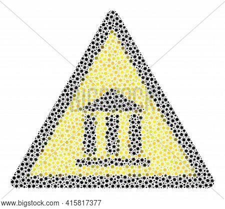 Vector Bank Warning Coronavirus Mosaic Icon Constructed For Medicare Purposes. Bank Warning Mosaic I