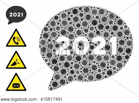 2021 Forum Message Bacteria Mosaic Icon. 2021 Forum Message Collage Is Formed From Random Bacteria P