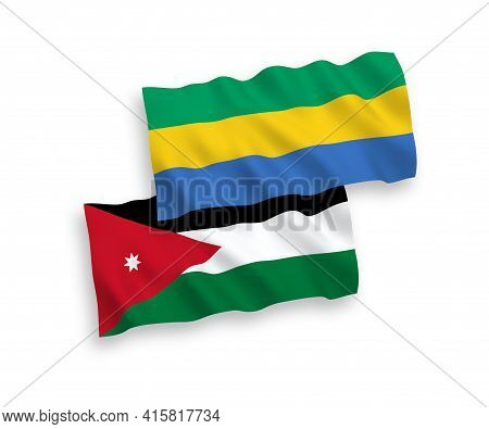 National Fabric Wave Flags Of Hashemite Kingdom Of Jordan And Gabon Isolated On White Background. 1