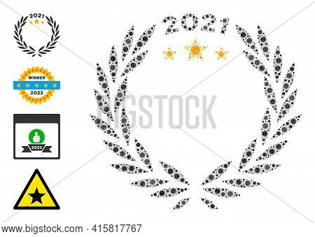 2021 Laurel Wreath Bacteria Mosaic Icon. 2021 Laurel Wreath Collage Is Made Of Scattered Covid Icons
